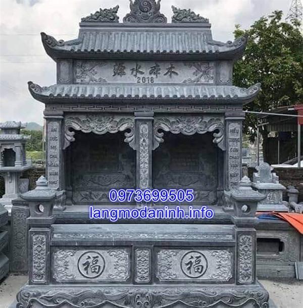 Mẫu tháp mộ đôi bằng đá xanh nguyên khối