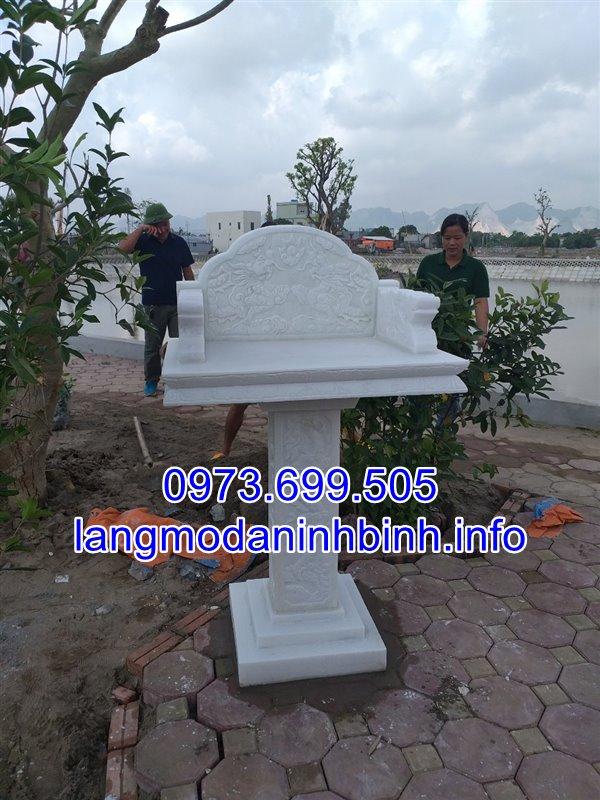 Mẫu miếu thờ không mái bằng đá trắng tự nhiên nguyên khối