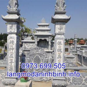 Mẫu lăng mộ đá gia tộc đẹp thiết kế hiện đại bán tại Hưng Yên 01