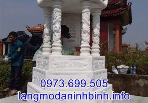 Mẫu mộ lục giác bằng đá trắng lắp đặt tại Yên Bái 01