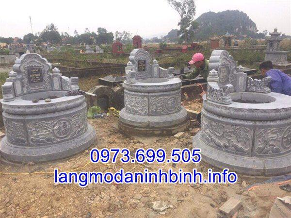 Mẫu mộ tròn bằng đá đẹp chạm khắc hoa văn tinh xảo 01