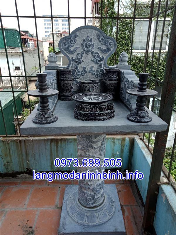 Mẫu cây hương đá không mái- mẫu bàn thờ ông thiên bằng đá xanh nguyên khối