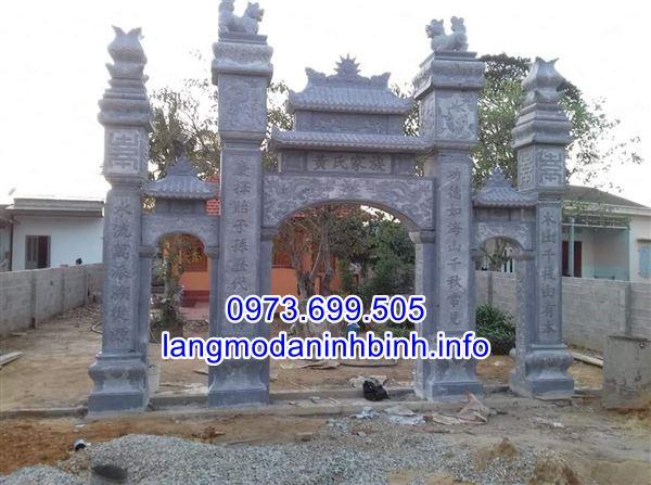 Mẫu cổng chùa bằng đá tự nhiên đẹp chạm khắc hoa văn tinh tế;