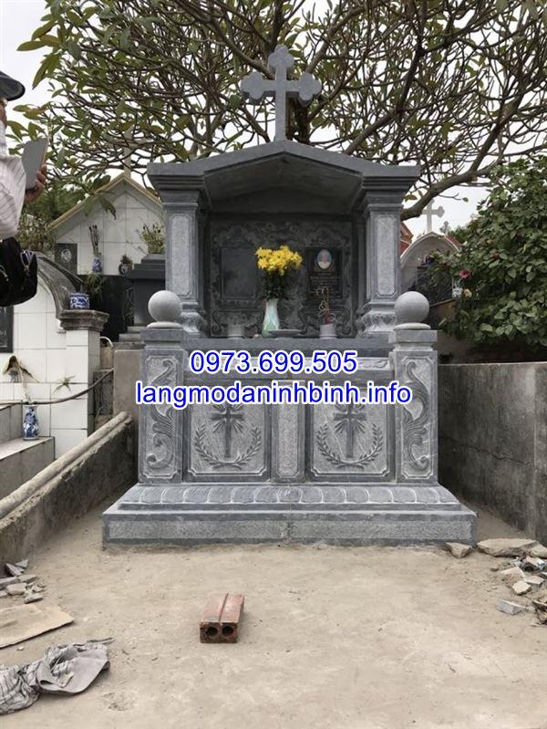 Mẫu mộ đôi bằng đá đẹp thiết kế đơn giản giá rẻ