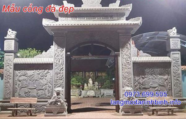 Mẫu cổng đá nhà thờ họ chạm khắc hoa văn tinh xảo giá rẻ;