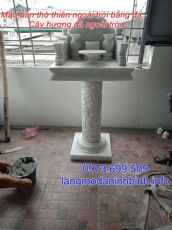 Mẫu bàn thờ thiên bằng đá chuẩn kích thước phong thủy nhất hiện nay