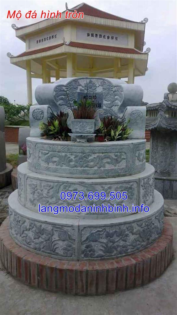 Mẫu mộ hình tròn bằng đá chuẩn kích thước phong thủy