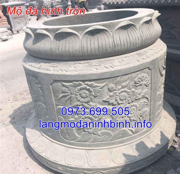 Mẫu mộ tròn đẹp chạm khắc hoa văn tinh xảo