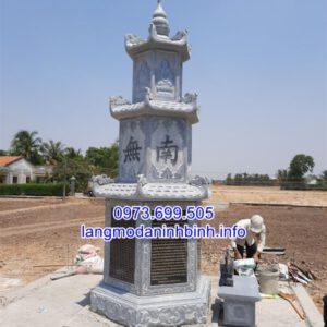 Mộ tháp đá - Xây mẫu mộ tháp để tro cốt hài cốt bằng đá đẹp