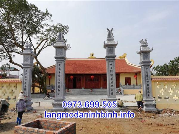 Mẫu cổng tứ trụ bằng đá chuẩn kích thước phong thủy cho nhà thờ họ