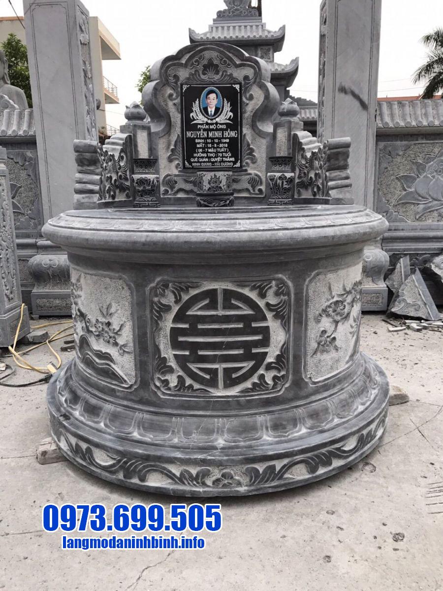 mẫu mộ tròn đẹp bằng đá xanh đen