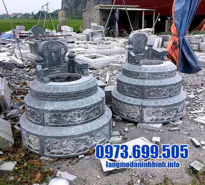 mẫu mộ tròn bằng đá xanh chuẩn phong thủy