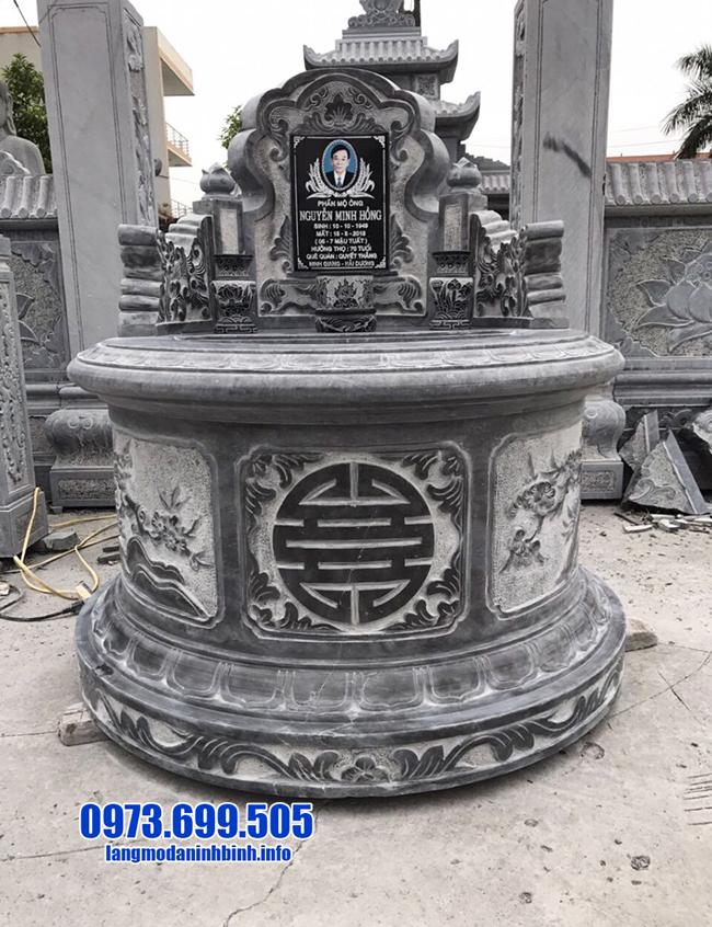 mẫu mộ tròn bằng đá xanh đen