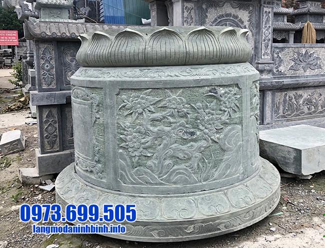 mẫu mộ tròn bằng đá xanh rêu đẹp