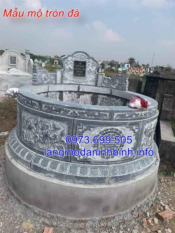 Hình ảnh mẫu mộ tròn bằng đá đẹp nhất hiện nay được chế tác tại Ninh Bình