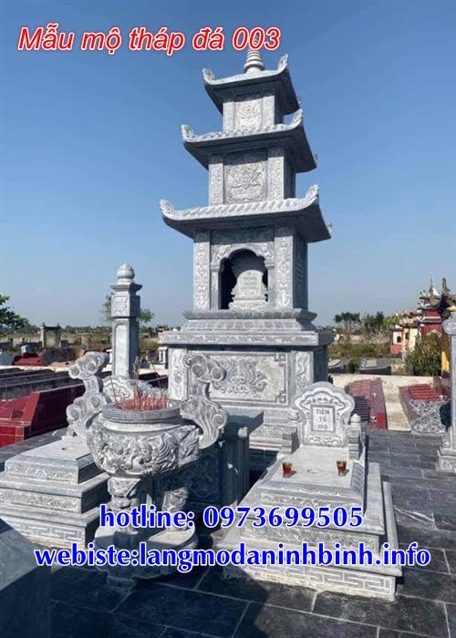 mẫu mộ tháp bằng đá để thờ hũ tro cốt tại Bạc Liêu