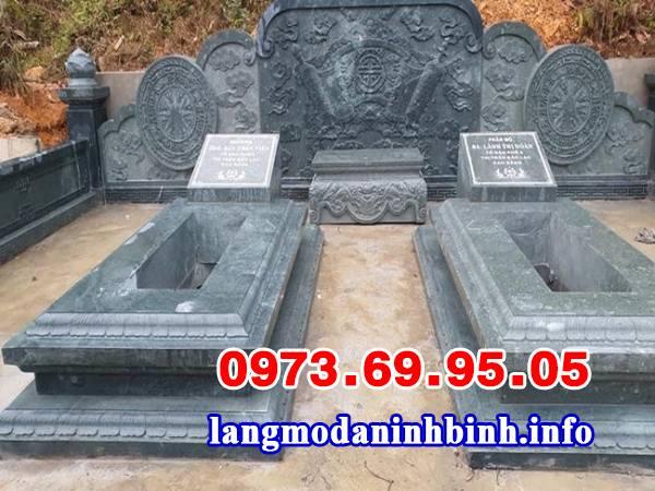 Mẫu mộ đôi đơn giản bằng đá khối